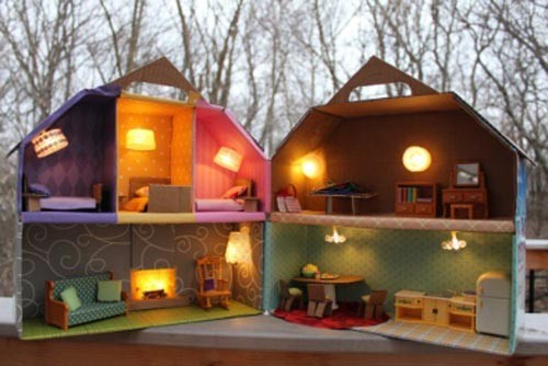 how to make a cardboard house with lights